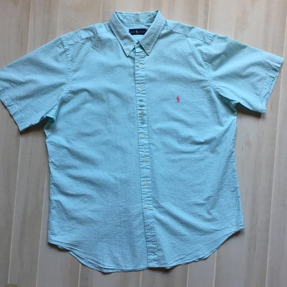 Ralph Lauren Seersucker Shirt Blue White Striped Button Front